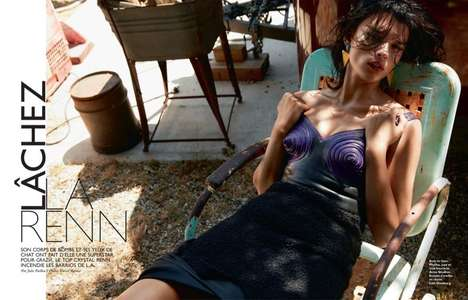 Glam Sweltering Editorials - The Grazia France January 2014 Photoshoot Stars Crystal Renn