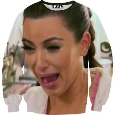 Sobbing Celeb Sweaters - Make a Funny Fashion Statment by Wearing a Shirt of Kim Kardashian Crying