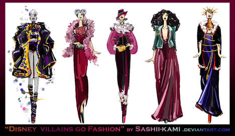 Villianous Fashion Sketches - Artist Sashiiko-Anti Gives the Disney Villains a Fashion Boost