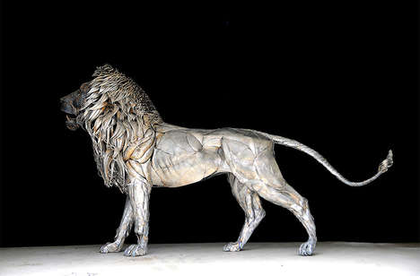 Giant Metallic Cat Sculptures - Artist Selçuk Yılmaz Created a Massive Metal Lion Sculptur