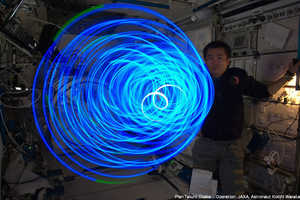 Astronaut Koichi Wakata Makes Some Zero Gravity Art with LEDs
