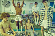 Laundry Day Editorials - This Schon! Magazine Men's Editorial Takes Place in a Laundry Mat