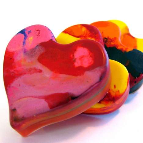 Romantically Recycled Crayons -  These Heart-Shaped Crayons are Perfect for Valentine's Day Drawing
