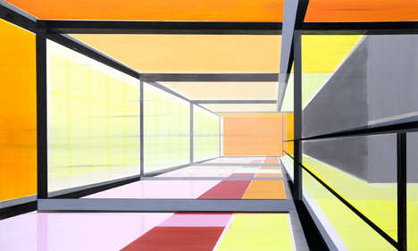 Geometrically Distorted Architectural Paintings - These Paintings Boast Bold Color and Abstraction