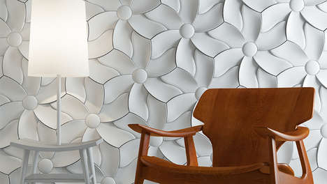 Textured Flowery Motif Tiles - The New KAZA Textural Tiles Add Texture Where It