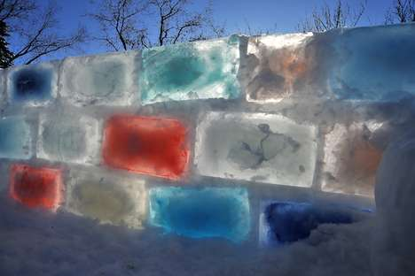 Glowing Rainbow Ice Forts - Marchand Builds a Fort Made from 400 Colorful Blocks of Ice in His Backy