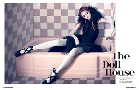 Eccentric Doll-Like Editorials - The Dazed & Confused Korea January 2014 Photoshoot is Surreal