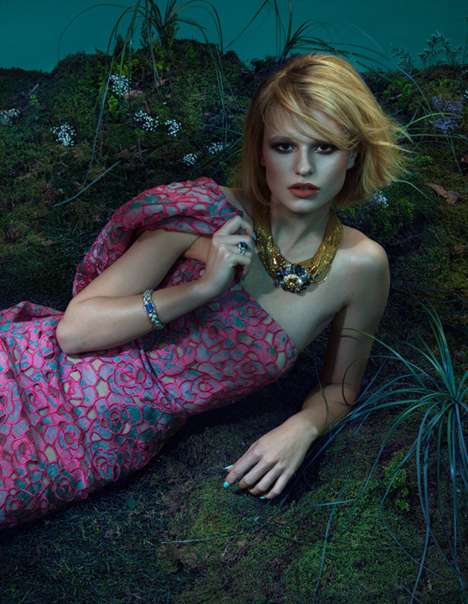 Mossy Floral Fashion Editorials - An Le Shot Bara Holotova for Harper