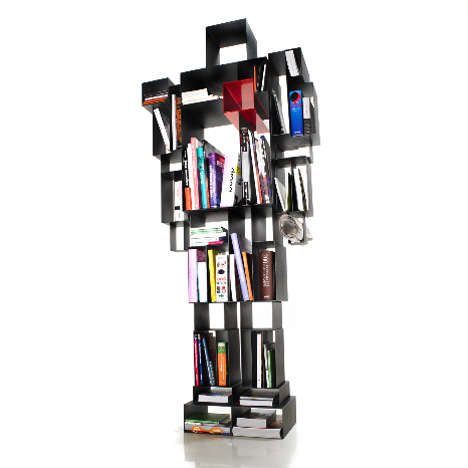 Geometric Robotic Shelves - This Original Book Shelf Breaths Some Life Back into That Book Shelf