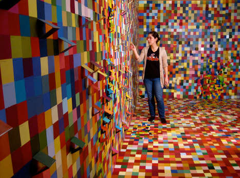 Pixelated Swatch Paintings - Madiha Siraj Covers Entire Walls with Paint Swatches