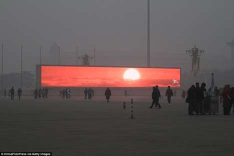 Digitally Produced Sun Screens - Beijing Created Screens to Display a Fake Sun on the Foggiest Days