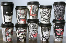 Cartoon-Infused Coffee Cups