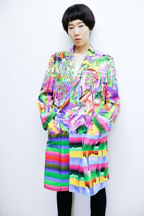 Psychedelic Trench Coats - These Striking Coats by Nukeme and Ucnv Offers a Dizzying Glitch Pattern