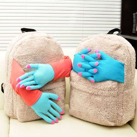 Eerie Protruding Hand Knapsacks - The Embrace Plush Backpack Offers a Unique Way to Give Hugs