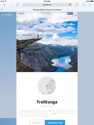 Photography-Based Travel Apps - The SMWH.RE Web App Shows Instagram Images of Places To Visit