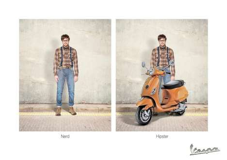 Instant Hipster Ads - TakeYour Look from Nerd to Cool with this Piaggio Vespa Campaign