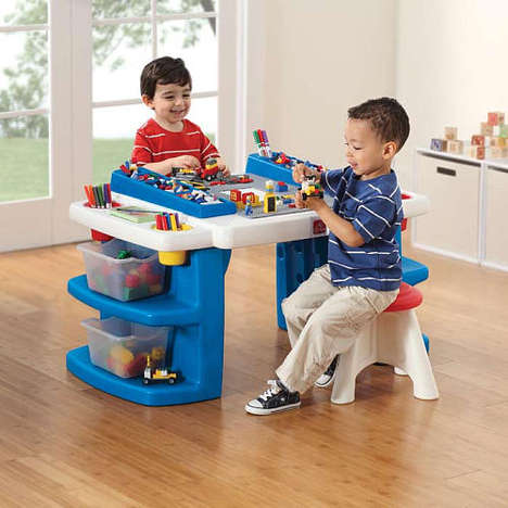 Multi-Functioning Activity Tables - The Build and Store Activity Table Brings Kids Together