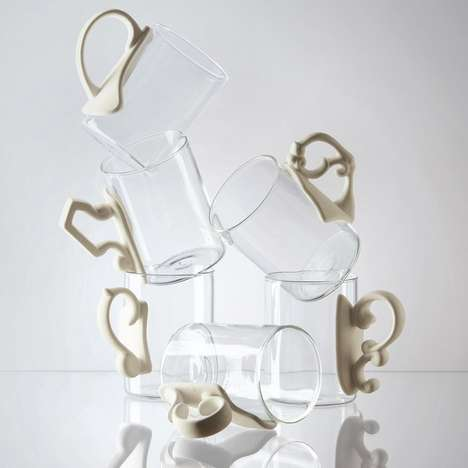 Glassy Porcelain Baroque Mugs - The Seletti Era Glass And Porcelain Mugs Come with a Baroque Handle