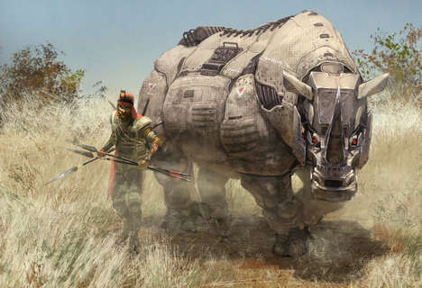 Giant Mechanical Animal Art - These Anti-Poaching Animal Art Prints Robotize Endangered Animals