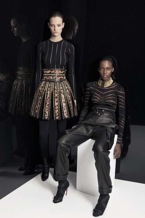 Dark Safari-Themed Fashion - The Balmain Pre-Fall 2014 Collection is Fit for a Modern Tribal Queen