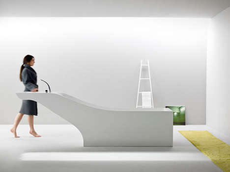 Minimalist Dual-Purpose Bathtubs - Desnahemisfera Combines a Bathtub and a Sink for Kerrock by Kolpa