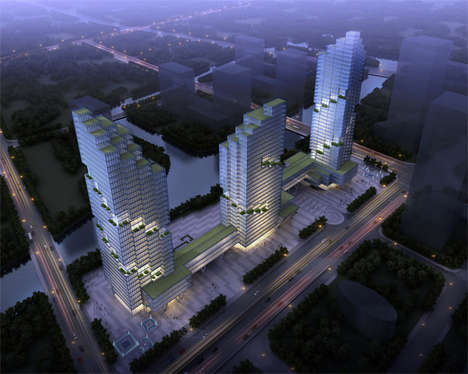 Culturally Creative Park Projects - The Shaoxing Project Will Add Three Green Stepped Skyscrapers