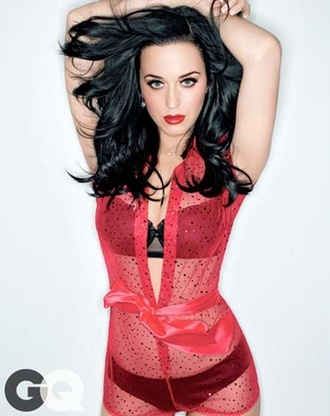 Lingerie-Clad Celeb Editorials - The GQ Magazine February 2014 Cover Shoot Stars Katy Perry
