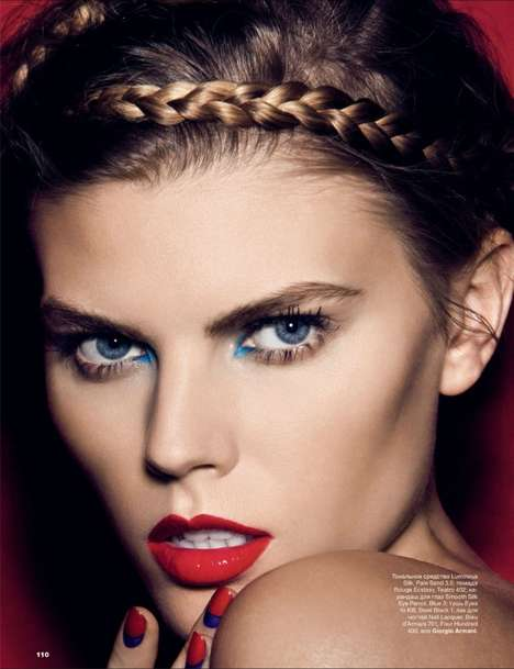 Primary Colored Cosmetic Captures - This Allure Russia Editorial Focuses on Blue and Red Cosmetics