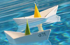 Paper Sailboat Taper Stands - The Dot Boat Candleholder Brings a Playfulness to Pool Illumination