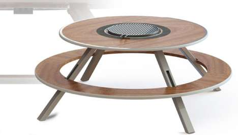 Barbecuing Picnic Tables - The Omega Outdoor Cooking Table Makes Alfresco Food Prep More Social