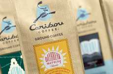 Faux Burlap Branding - Caribou Coffee Packaging Takes an Illusory Earthy Appearance