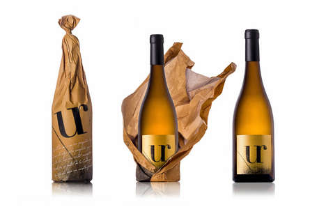 Crumpled Paper Bag Packaging - The UR Wine Bottle Comes in a Wrinkled Brown Paper Bag