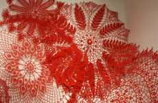 Giant Crocheted Dollies - Keeping Up Appearances by Ashley V. Blalock is a Web-Like Installation