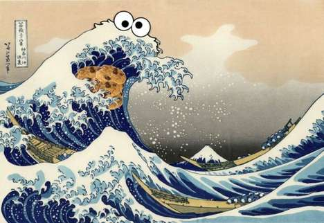 Japanese Cartoon Nature Art - This Image Sees the Famous Great Wave of Kanagawa Get Cookie Monster