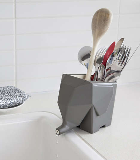 Adorable Elephantine Cutlery Holders - Jumbo by Peleg Design Drains Water Out of Its Trunk