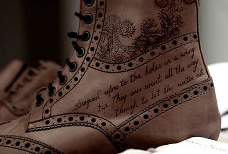 Hipster Tattooed Leather Footwear - Be Awesome and Sport a Pair of Tattoo Shoes by Oliver Sweeney