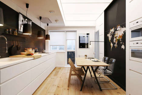 Cozy Compact Apartment Designs - The Monochrome Natalia Akimov Apartment Design is Bold and Warm
