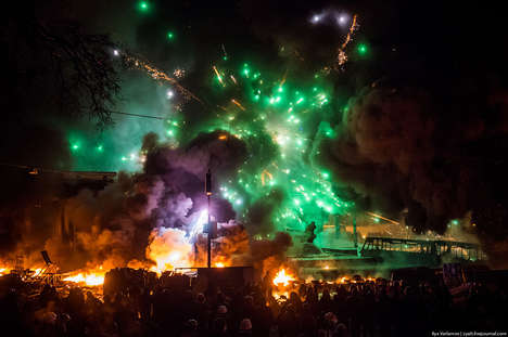 Chaotic Crisis Photography - These Chaotic Pictures Depict a Full Out Riot in Kiev