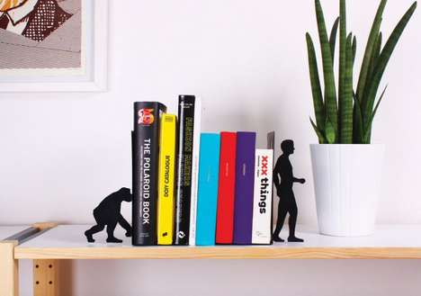 Evolutionary Book Stands - These Evolution Bookends Show the Idea of Change Through Knowledge