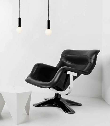 Deep-Seated Leather Furniture - The Karuselli Lounge Chair is a Luxe Executive Armchair Option
