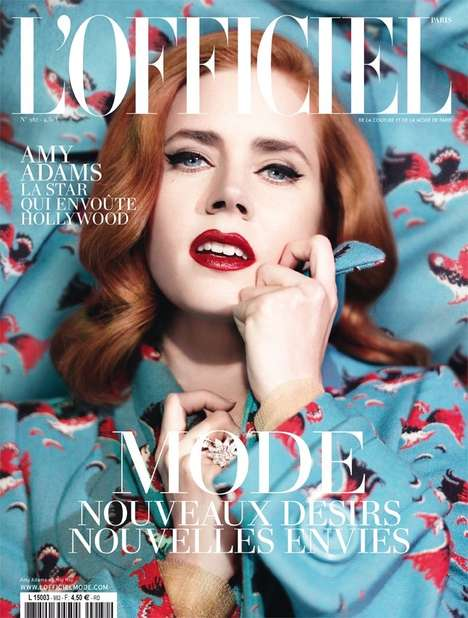 Whimsically Elegant Magazine Covers - The L'Officiel Paris February 2014 Issue Stars Amy Adams