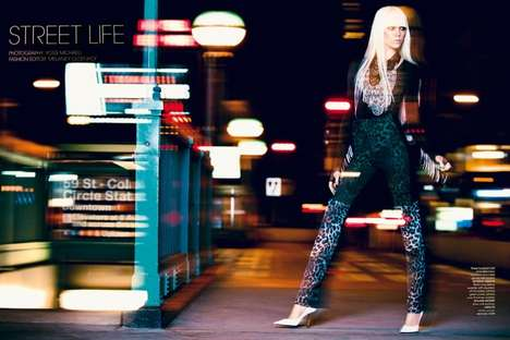 Blurred Nighttime Editorials - The Luxure Magazine Winter Photoshoot Stars Josefien Rodermans