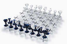 Luxurious Glass Chess Sets - This Glass Chess Set Epitomizes Luxury with Handcrafted Design