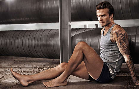 Construction Site Clothing Campaigns - The David Beckham for H&M Bodywear Spring 2014 Ads Are Rugged