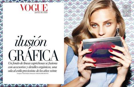 Patterned Wallpaper Editorials - The Vogue Latin America February 2014 Issue Stars Anna Selezneva