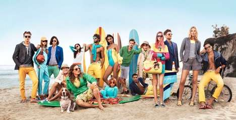 Beach Day Fashion Ads - The Tommy Hilfiger SS14 Campaign Boasts an All-Star Model Cast