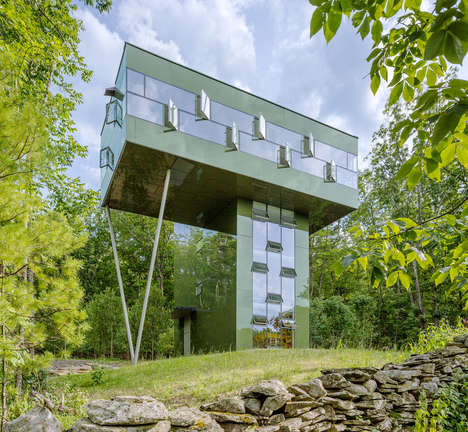 T-Shaped Treetop Residences - The Tower House Camouflages Seamlessly in a Forest