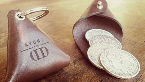 Minimalist Leather Coin Pouches - The Fly Trap Coin Pouch by Dan and Dave is Modern Yet Timeless