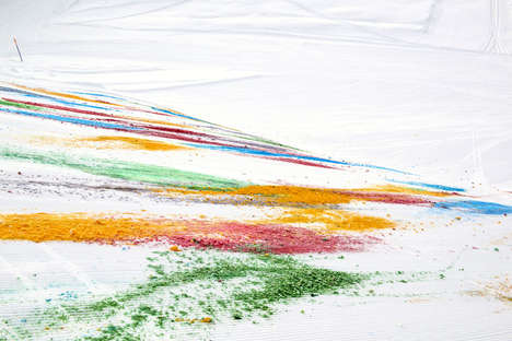 Chromatically Coated Snow Drawings - This Mountainside Got More Vibrant with This Painted Snow Art