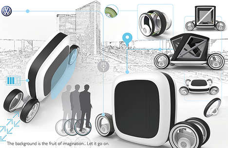 Flatpack Concept Cars - The HERE Car Compresses for Compact Parking at Home and Out